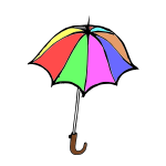 Cartoon vector graphics of colorful umbrella