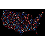United States Map With Prismatic Stars