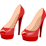 Red stilettos with pattern