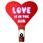 Vector illustration of Valentines Day balloon with lettering Love is in the air