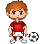 Vector illustration of cartoon soccer player