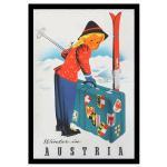Winter in Austria vintage travel poster