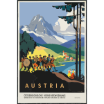 Vector clip art of vintage travel poster Austria