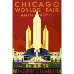 Vector graphics of vintage poster of Chicago World's Fair 1933