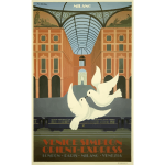 Vector graphics of two doves vintage travel poster