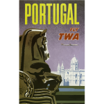 Vector clip art of Portugal vintage travel poster