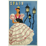 Flamenco dancer vintage travel poster vector drawing