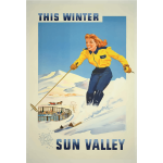 Vintage poster of winter resort