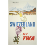 Fly TWA vintage travel poster vector graphics