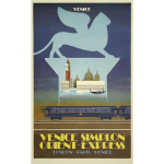 Illustration of Venice Orient Express vintage poster