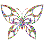 Vivid Polychromatic Tiled Tribal Butterfly Silhouette