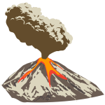 Erupting volcano with ash plume and lava flow