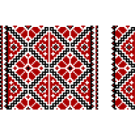 Ukrainian embroidery in black and red vector clip art