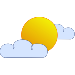 Blue and yellow symbol for partly cloudy sky vector clip art