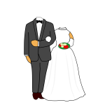 Illustration of headless wedding couple