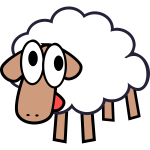 Vector illustration of silly white cartoon sheep