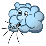 Vector image of blue Mr Wind cloud