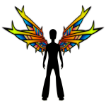Rainbow angel silhouette vector image