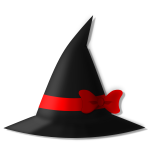 Hat with red ribbon