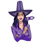 Young witch in purple vector illustration