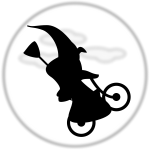 Witch climbing the moon on bicycle vector graphics