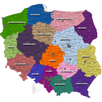 Districts of Poland map vector clip art