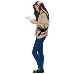 Woman standing up and reading