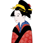 Japanese woman in red kimono vector graphics
