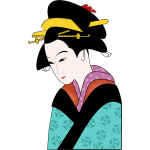 Japanese woman in blue kimono vector image