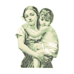 Vintage woman with child