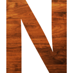 Letter N in wooden texture