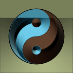 Vector illustration of ying yang sign in gradual blue and brown color