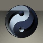 Vector graphics of ying yang sign in gradual silver and blue color