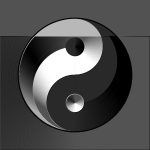 Vector clip art of ying yang sign in gradient silver and black color
