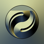 Ying yang sign in gold color vector graphics