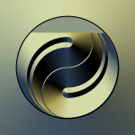 Graphics of ying yang icon in gradual gold color