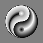 Ying yang sign in gradual silver and black color clip art