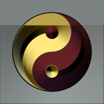 Vector image of ying yang sign in gradual gold and red color