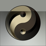 Ying yang sign in gradual gold and black color vector illustration