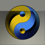 Ying yang sign in gradual gold and blue color vector graphics