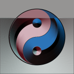 Ying yang sign in gradual blue and pink color clip art