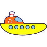 Vector drawing of yellow cartoon boat
