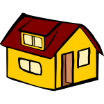 Vector image of yellow detached house with a red roof