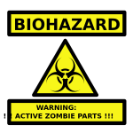 Zombie parts warning label vector image