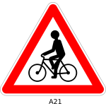 Cycle route ahead sign vector