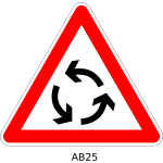 Vector clip art of roundabout traffic warning sign