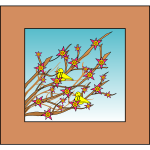 Yellow birds in tree branches with flowers image