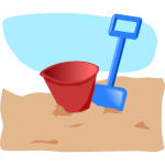 Vector graphics of children's spade and bucket
