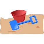 Kids bucket and spade vector clip art