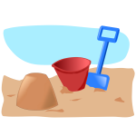 Vector drawing of sandcastle with bucket and spade